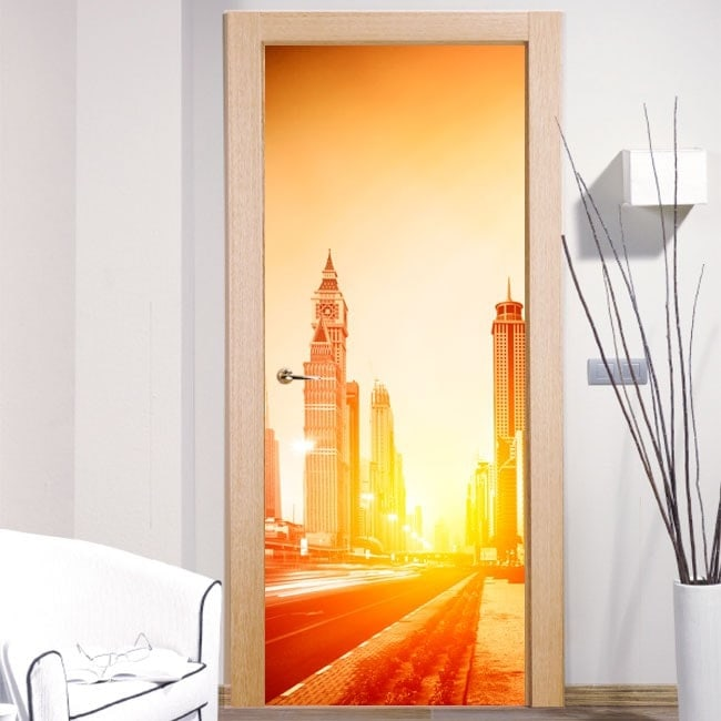 Decorative doors stickers for dubai city