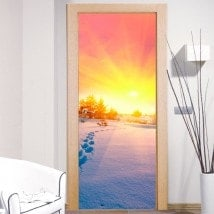Decorative Wall Decals Doors Sunset Snowy Mountains