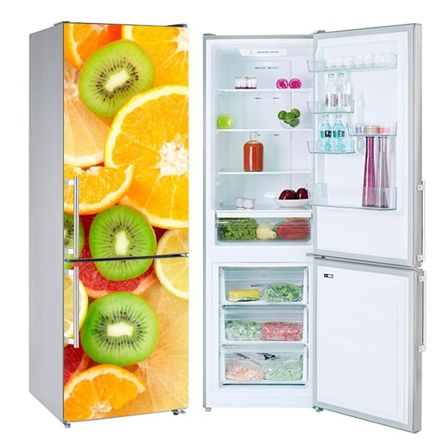 Vinyls for refrigerators and refrigerated fruits collage