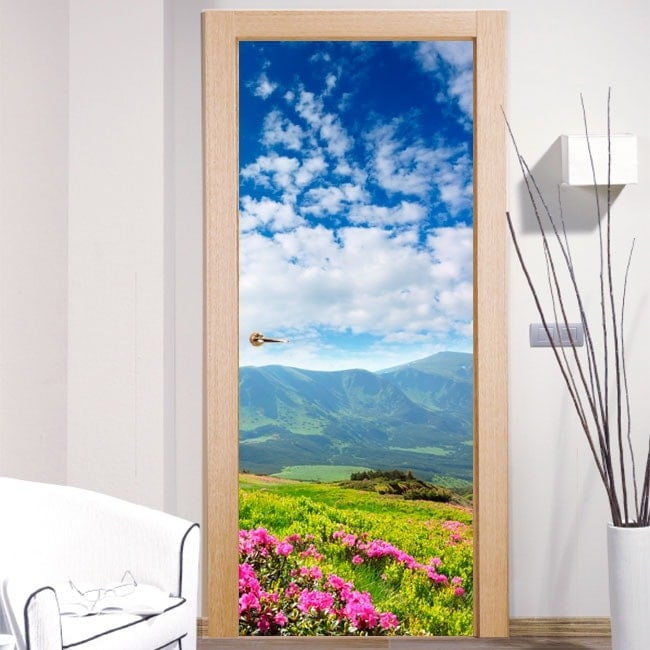 Vinyls for doors flowers in the mountains