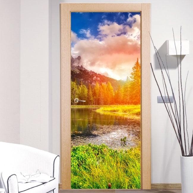 Vinyl for doors sunset in the Dolomites