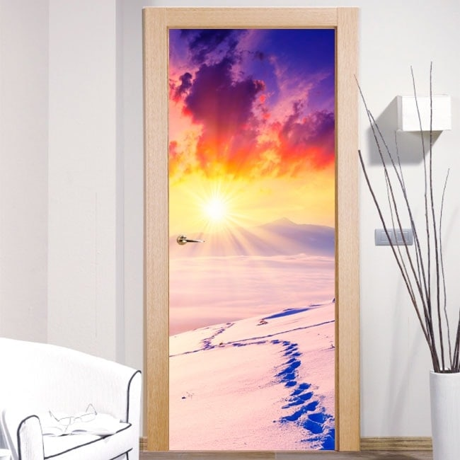 Vinyls and stickers doors sunset snowy mountains