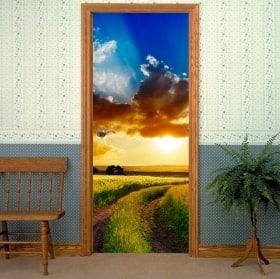 Vinyls for doors field sunset
