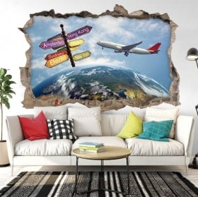 Wall stickers 3d travel around the world