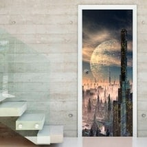 Door decals city of the future
