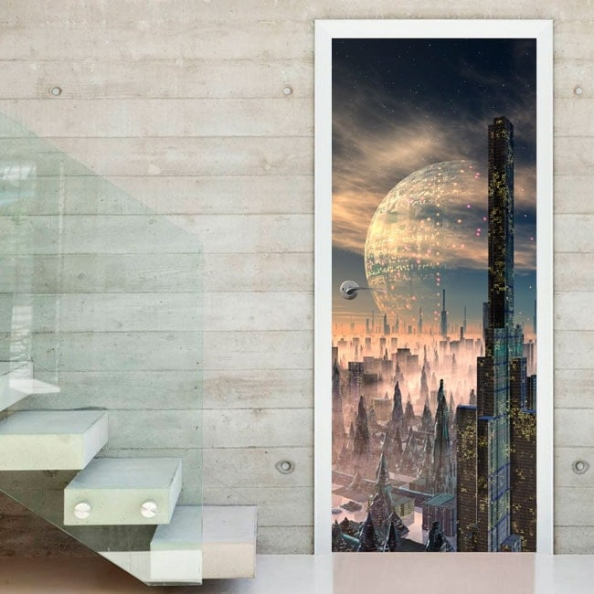 Door decals city of the future
