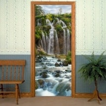 Decorative vinyl doors waterfalls mountains