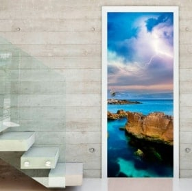 Vinyls and stickers for doors rays in the sea