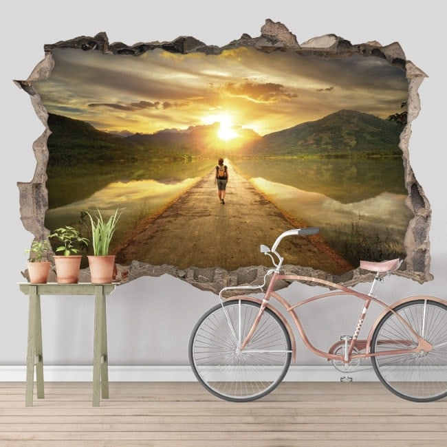 3D decorative stickers road at sunset