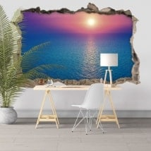 Decorative stickers 3D colors sunset in the sea