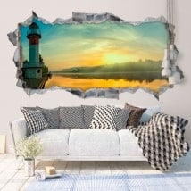 Decorative vinyl 3D sunrise on the river
