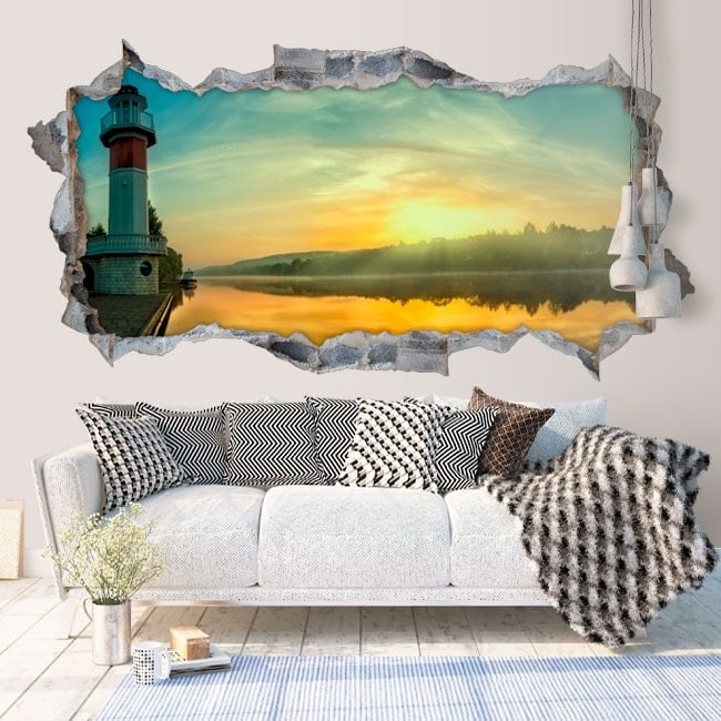 Decorative vinyl 3D sunrise on the river