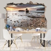 Decorative vinyl 3d sunrise mediterranean coast