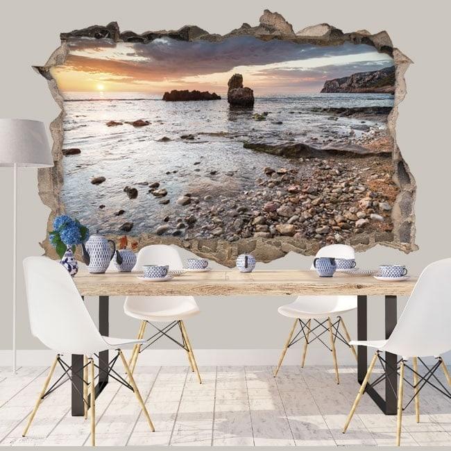 Decorative vinyl 3d sunrise mediterranean coast