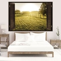 3D vinyl windows sunset in the meadow