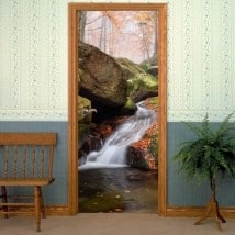 Doors decals waterfall in autumn