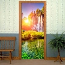 Decorative vinyl doors sunset in the waterfalls