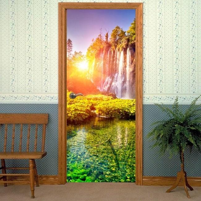 Decorative vinyl doors sunset in the waterfalls