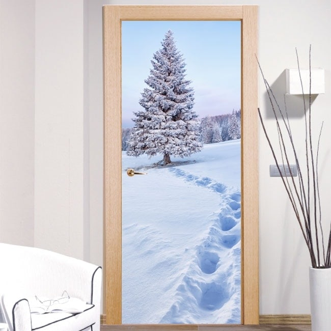 Decals doors snow in the mountains