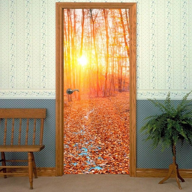 Vinyls and stickers for doors forest sunset