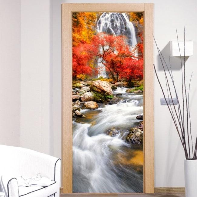 Vinyl doors waterfall nature