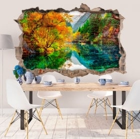 Wall stickers 3D lake five flower China
