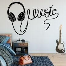 Stickers music headphones