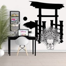 Wall stickers Torii with Buddha