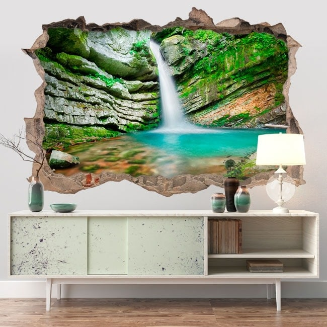Wall stickers 3D waterfall in Slovenia