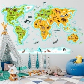 Children's stickers animals world map
