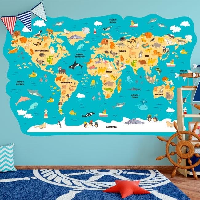 Children's vinyl animals world map