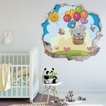Children's stickers 3D bear with balloons
