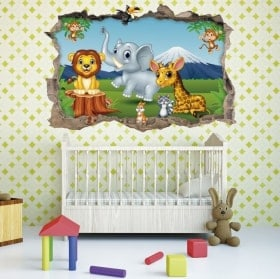 3D stickers animals zoo baby