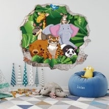 Children's 3D vinyl animals zoo