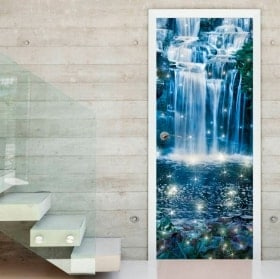 Stickers doors magical waterfall