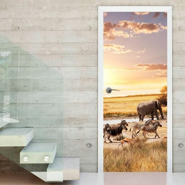 Safari animals stickers doors
