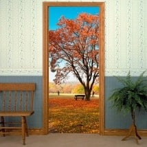 Decorative vinyl for doors tree in autumn