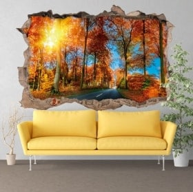Wall stickers 3D road in autumn