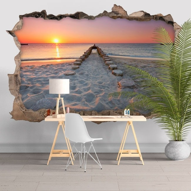 Wall stickers 3D beach at sunset
