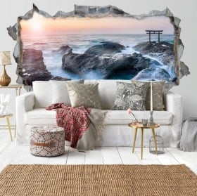 Wall stickers panoramic Torii gate 3D