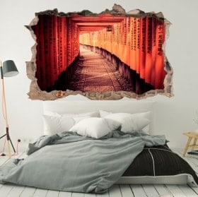 Wall stickers tunnel in Kyoto Japan 3D