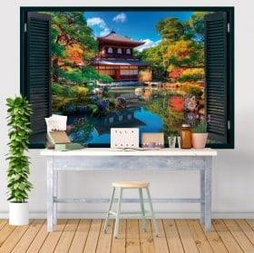 Windows 3D stickers Ginkaku-ji Kyoto Japan