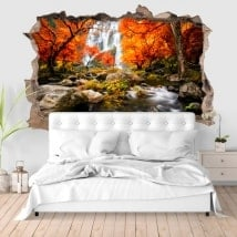 Walls stickers 3D waterfalls in autumn