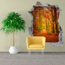 Wall vinyls road in autumn 3D