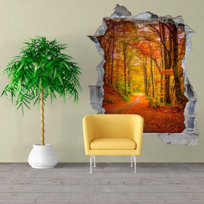 Wall vinyls road in autumn 3D