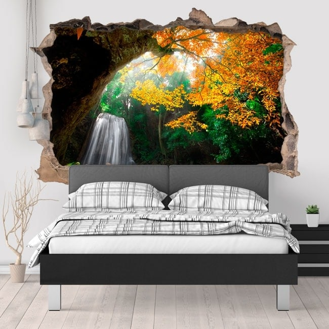 Stickers for wall waterfall in the forest 3D