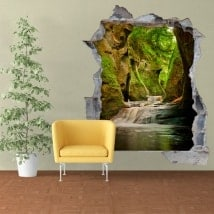 Wall decals Finnich Glen Scotland waterfalls 3D