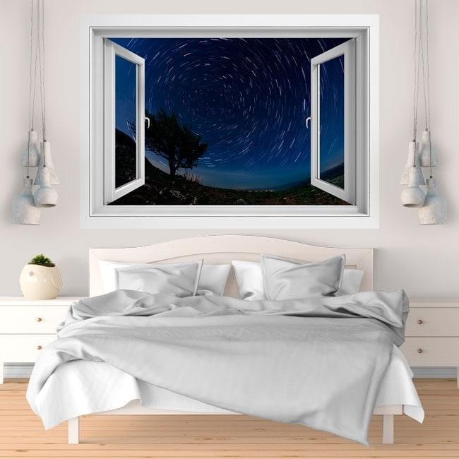 Window vinyl 3D moving stars