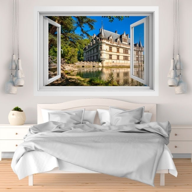 3D vinyl window castle of Azay-le-rideau France