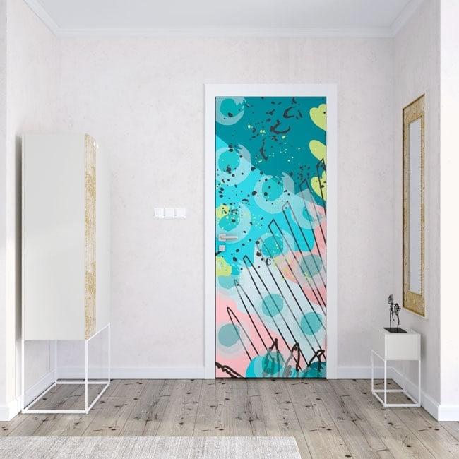 Doors stickers color strokes